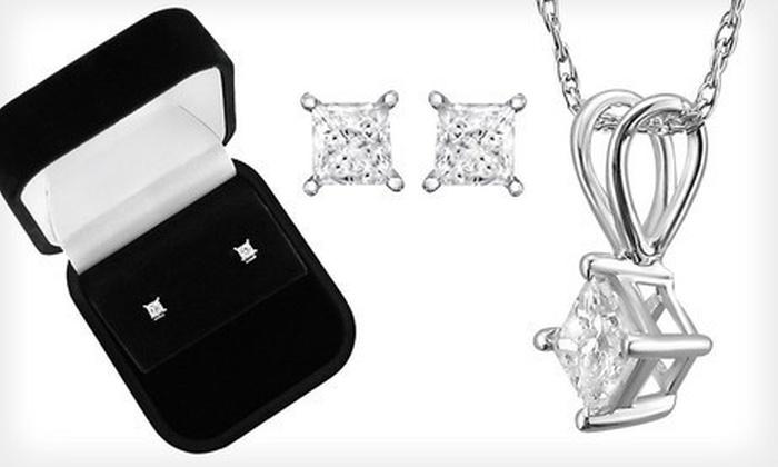Princess-Cut Diamond Jewelry: Princess-Cut Diamond Stud Earrings, Solitaire Pendant, or Both (Up to 66% Off)