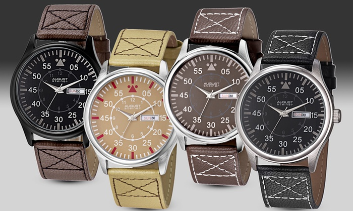 August Steiner Men's Classic Date Watches: August Steiner Men's Classic Date Watches (Up to 90% Off). Multiple Styles Available. Free Shipping and Returns.