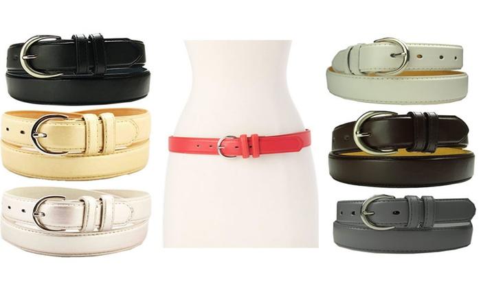 Women's Leather Dress Belts (2-Pack)