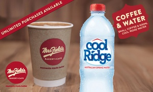 Mrs. Fields: $2.99 for Coffee or Any Hot Drink + 600ml Bottle of Cool Ridge Water - Valid 42 Locations Nationwide (Don't Pay $7.10)