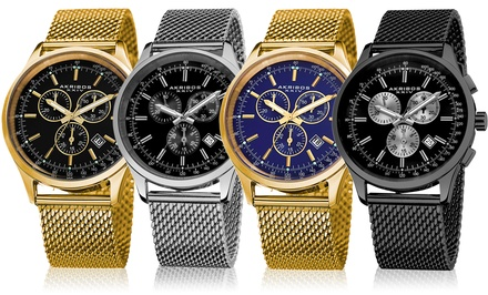 Akribos Men's Swiss Chronograph Mesh Bracelet Watch