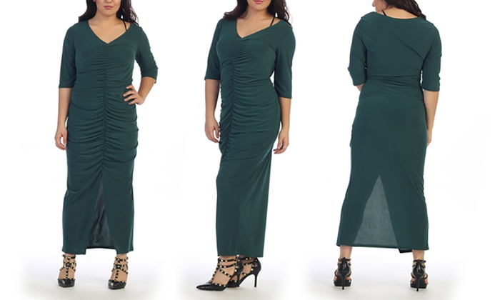 Women\'s Long Plus-Size Ruched Dress | Groupon
