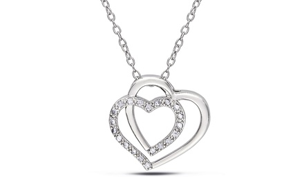 0.1 CTTW Diamond Sterling Silver Heart Pendant Necklace