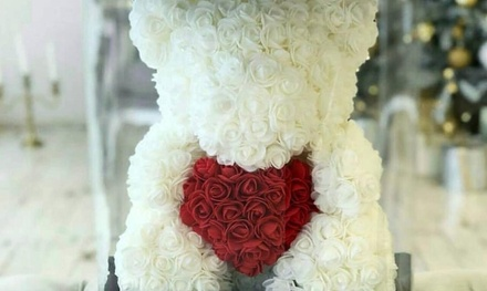 Rose bear flower arrangement at Li-Flowers (Up to 50% Off). Two Options Available.