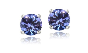 1.00 Cttw Genuine Tanzanite Stud Earrings