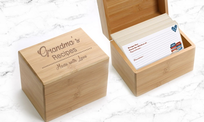 Personalized Wooden Recipe Box Monogram Online Groupon