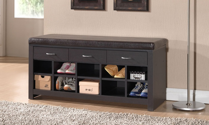 Shoe storage cabinets benches groupon goods Shoe cabinet bench