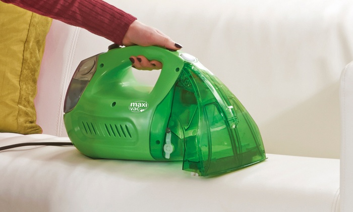Maxi Vac Handheld Carpet and Upholstery Cleaner with Optional Spare Brush Heads and Cleaning Liquid for £40