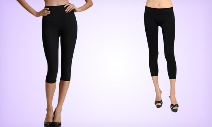 2-Pack of Seamless Capri Yoga Leggings: $14.99 for a 2-Pack of Seamless Capri Yoga Leggings in Midnight Black ($60 List Price)