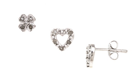 1/10-CT Full Diamond Clover or Heart Stud Earrings