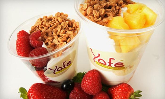 Yofé Fresh Fruit & Yogurt Café - Cultural District: Café Meal for Two or $5 for $10 Worth of Frozen Yogurt, Smoothies, and Healthful Eats at Yofé Fresh Fruit & Yogurt Café