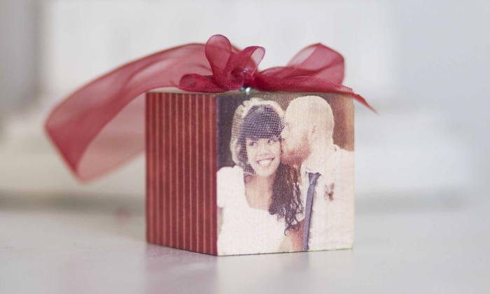 "PhotoBarn: 2""x2"" Custom Wood Photo-Block Ornaments from PhotoBarn (Up to 57% Off). Three Options Available."