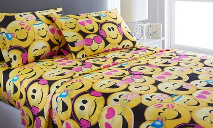 Emoji Collection Microfiber Sheet Set Was: $59.99 Now: $17.99.