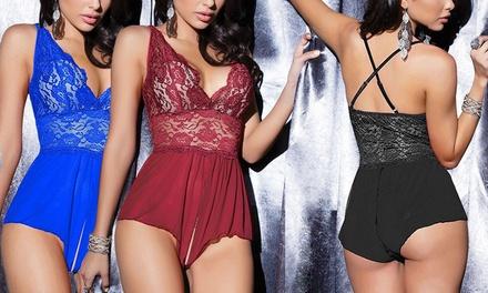 1 of 2 sensuele bodystockings met opening in meerdere maten en kleuren verkrijgbaar