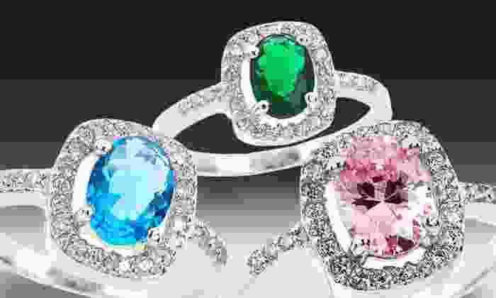 Colored Oval Cubic Zirconia Halo Rings: Colored Oval Cubic Zirconia Halo Rings. Multiple Styles Available. Free Shipping and Returns.