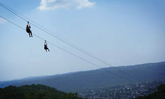 Grand Vue Park - Moundsville: 1.5- or 3.5-Hour Canopy Zipline Tour for Two with Digital Images at Grand Vue Park (Up to 42% Off)