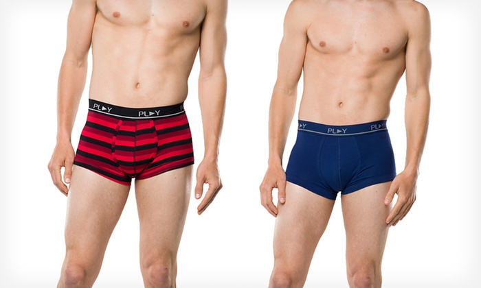 Play Men's Stripe-and-Solid Trunks 2-Pack: $12.99 for a 2-Pack of Men's Play Stripe-and-Solid Trunks ($28 List Price). Multiple Styles Available.