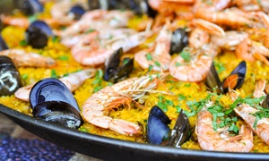 The Med Bar: Paella For Two or Four With a Glass of House White Wine at The Med Bar (Up to 54% Off)