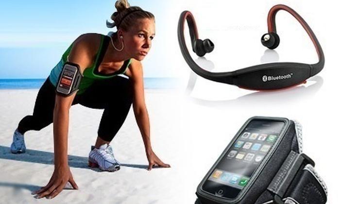 Cuffie sport con fascia da braccio groupon goods - Cuffie per sport ...