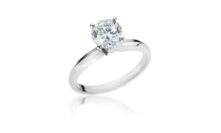 1.00 Carat Certified Round Diamond Ring in 14K Gold