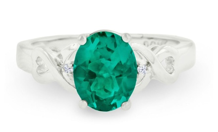 1.71 CTTW Green Amethyst and Diamond Ring