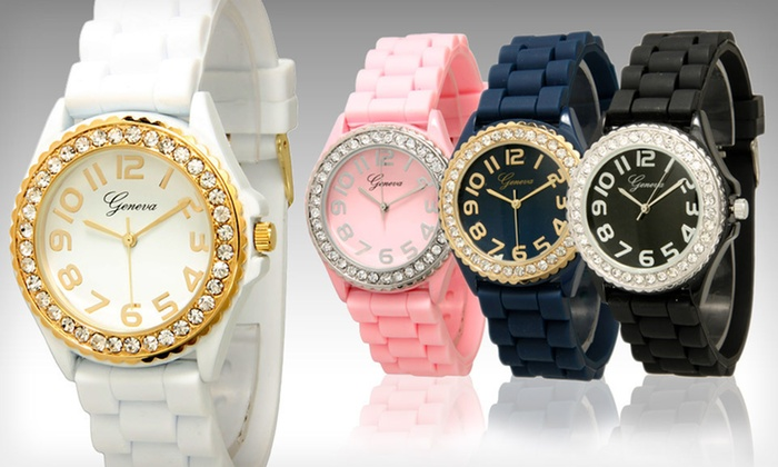 Crystal-Embellished or Zebra-Silicone Watches: $7 for a Geneva Women's Crystal-Embellished Silicone Watch ($19.99 List Price). 27 Colors Available. Free Returns.