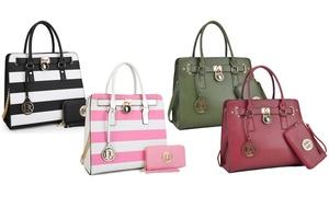 MMK Collection Milan Large Padlock Tote Handbag with Matching Wallet