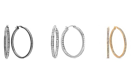 Gold-Plated or Stainless Steel Hoop Earrings with Simulated Diamonds