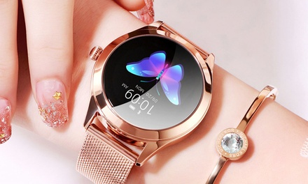 Women's Fitness Smart Watch with Heart Rate Monitor: Leather ($59.95) or Stainless Steel ($69.95)