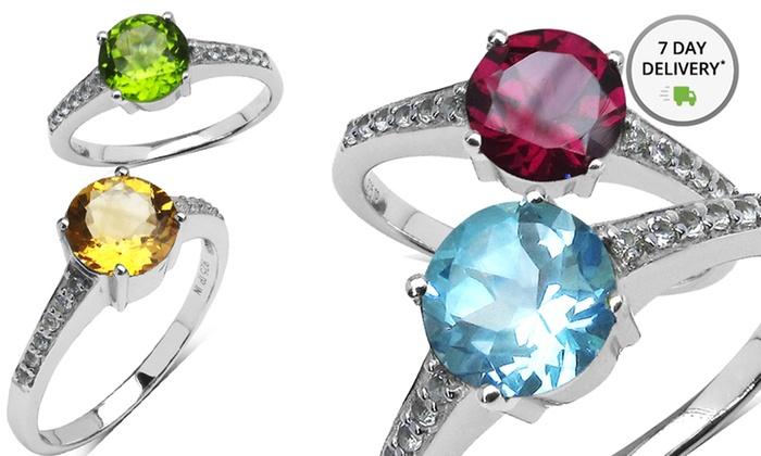 Genuine Gemstone Rings in Sterling Silver: Sterling Silver Genuine Gemstone Rings in Citrine, Peridot, Amethyst, Blue Topaz, or Garnet. Free Returns.