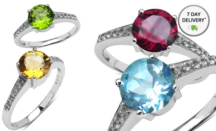 Sterling Silver Genuine Gemstone Rings in Citrine, Peridot, Amethyst, Blue Topaz, or Garnet. Free Returns.