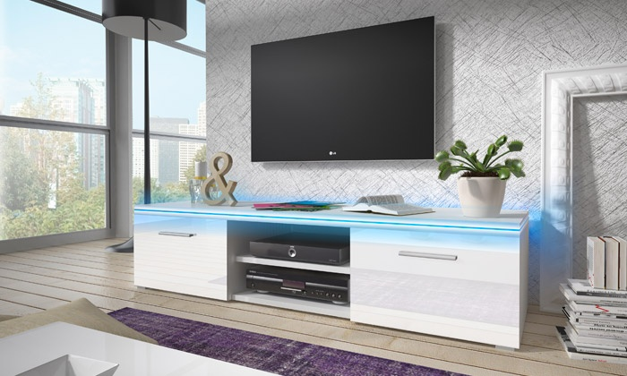Meuble tv avec led groupon shopping for Modele meuble tv