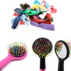 Rainbow Bristle Detangling Hairbrush and Hair Ties (60-Pack)