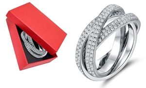 18K White Gold Plated Rolling Eternity Ring