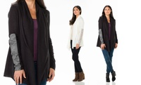 GROUPON: Sociology Faux-Leather Patch-Sleeve Cardigan  Sociology Faux-Leather Patch-Sleeve Cardigan