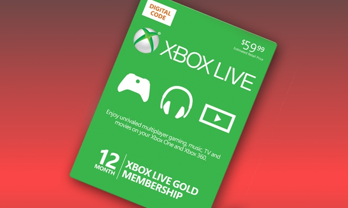 12-Month Xbox Live Gold Card and $10 in Groupon Bucks: 12-Month Xbox Live Gold Card and $10 in Groupon Bucks