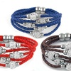 5-Tier Genuine Leather and Austrian Crystal Magnetic Clasp Bracelet
