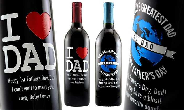 Etching Expressions: $39 for an I Heart Dad or World's Greatest Dad Etched Father's Day Wine Bottle from Etching Expressions ($94.95 Value)