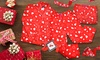 Angelina Cozy Fleece Pajama Sets, Pants, or Shorts in Red Heart Print