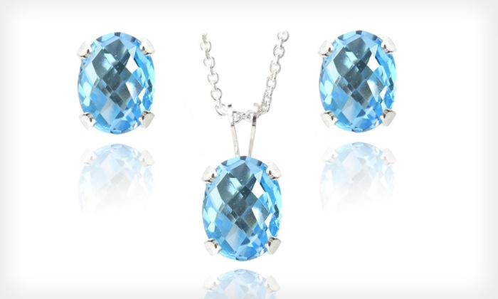 Gemstone Earrings and Necklace Sets: $19 for a Sterling-Silver and Gem Earrings and Necklace Set ($99.99 List Price). Three Stones Available. Free Shipping.