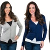 Women's Cropped Button-Front Cardigan—Regular and Plus Sizes