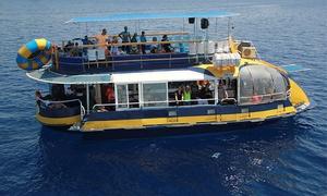 """רו-עי יאכטות אילת בע""""מ: שיט  בן שעתיים על ספינת הגלאקסי באילת, עם חלונות המשקיפים מתחת לפני המים, רק ב-35 ₪ לאדם. תקף גם בחגים ושבתות"""