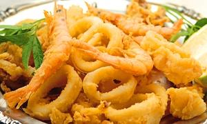 PAGODA (SAN PIETRO IN BEVAGNA): Menu gourmet di pesce con calice o bottiglia di vino per 2 o 4 persone da Pagoda (sconto fino a 76%)