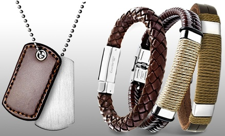 Men's Leather Bracelet or Dog-tag Necklace. Multiple Pieces from $9.99–$29.99. Free Returns.