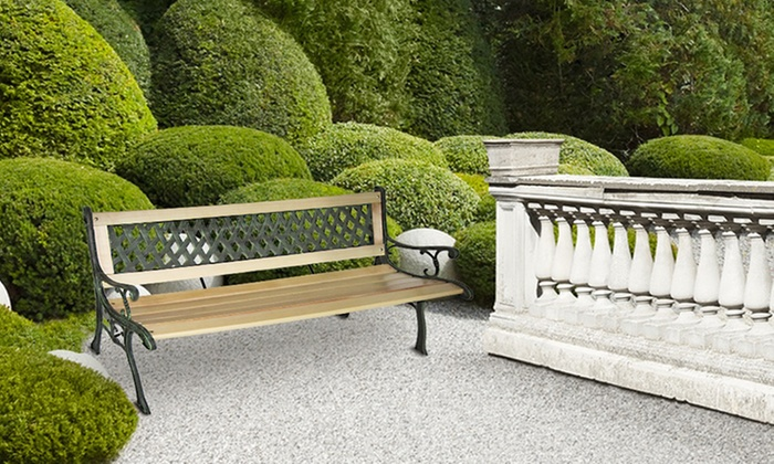 banc de jardin en bois et fonte groupon shopping. Black Bedroom Furniture Sets. Home Design Ideas