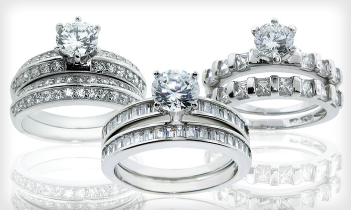 Sterling-Silver and CZ Wedding-Ring Sets: $19.99 for a Sterling-Silver and CZ Wedding-Ring Set ($99.99 List Price). 44 Options Available. Free Shipping & Returns.