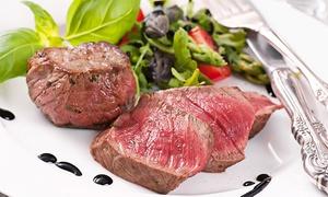 SAARON: 1 kg de lomo de vaca deshuesado para dos con entrante, postre y botella de vino por 29,95 € en la plaza de los Cubos