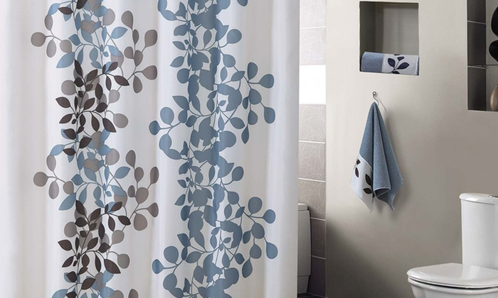 Modern Leaf Print Shower Curtain with Two Free Hand Towels: Modern Leaf Print Shower Curtain with Two Free Hand Towels. Multiple Colors Available. Free Returns.