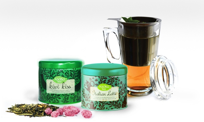 Glass Party Mug with Two Teas: Glass Party Mug with Two Teas. Multiple Varieties Available.