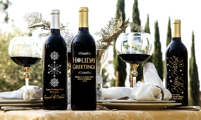 Custom-Etched Bottle of Wine: Custom-Etched Bottle of Wine. Free Shipping.